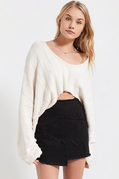 BDG Frayed Patchwork Denim Mini Skirt