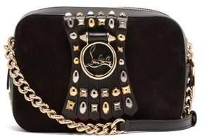 Christian Louboutin Rubylou Embellished Leather Mini Cross Body Bag - Womens - Grey Multi