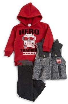 Nannette Little Boy's Three-Piece Hero in Training Hoodie, Vest and Pants