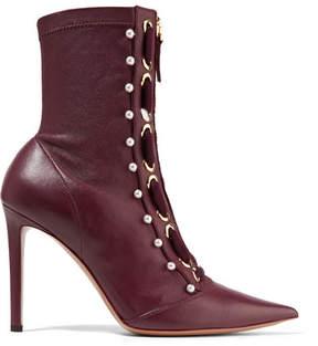 Altuzarra Elliot Embellished Leather Ankle Boots - Burgundy