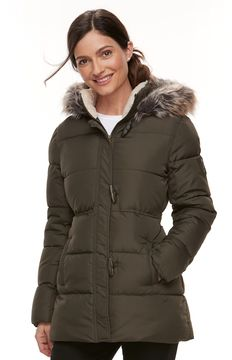 Chaps Women's Faux-Fur Trim Toggle Jacket