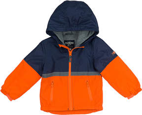 Osh Kosh Orange & Navy Color Block Hooded Jacket - Infant