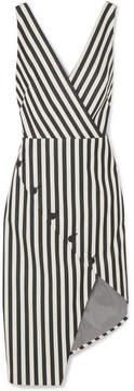 Altuzarra Marceau Asymmetric Striped Cotton-blend Dress - Black