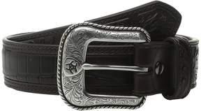 Ariat Croco Floral Embossed Tab Belt Men's Belts