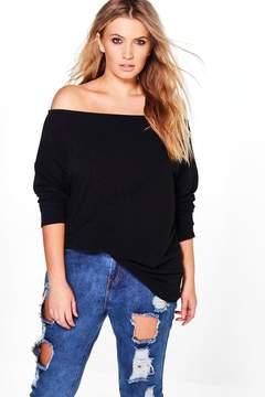 boohoo Plus Caroline Off The Shoulder Knitted Jumper