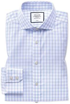 Charles Tyrwhitt Extra Slim Fit Non-Iron Natural Cool Sky Blue and White Check Cotton Dress Shirt Single Cuff Size 15/33