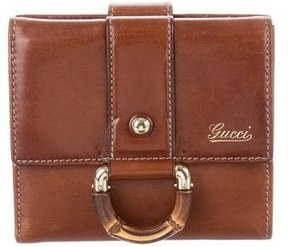 Gucci Vintage Leather Bamboo Wallet - BROWN - STYLE