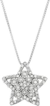 Ice Diamond Accented Sterling Silver Miracle Plate Cluster Star Pendant Necklace