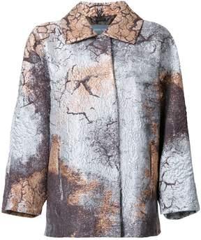 Alberta Ferretti stained metallic effect coat