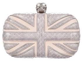 Alexander McQueen Snakeskin-Trimmed Britannia Skull Box Clutch