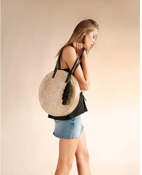 Express metallic round straw tote