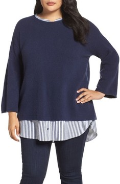 Caslon Plus Size Women's Cozy Layered Sweater