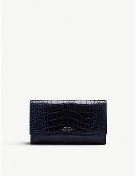 Smythson Mara crocodile-print leather continental purse