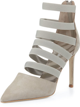 Delman Bae Strappy Point-Toe Bootie, Putty