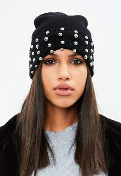 Missguided Black Studded Detail Beanie