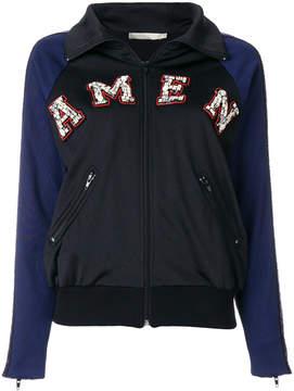 Amen embroidered zipped sweatshirt