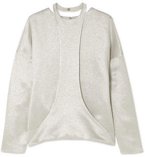 Valentino Draped Hammered-satin Blouse - Silver