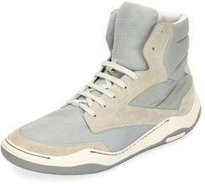 Lanvin Men's Mesh & Suede Indoor High-Top Sneakers, Light Gray