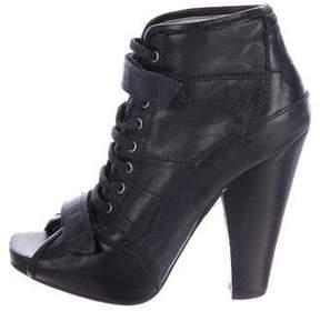 Barbara Bui Leather Peep-Toe Booties