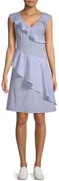 Collective Concepts Women's Striped Asymmetrical Ruffle Dress