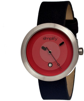 Simplify Unisex The 300 Black Leather-Band Watch With Date Sim0305