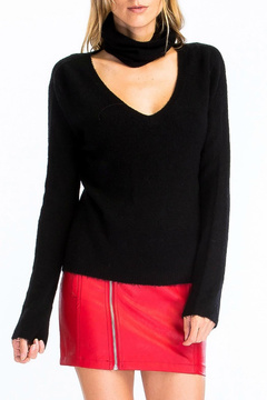 Olivaceous Fuzzy Choker Sweater