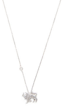 Elizabeth Showers Women's Silver & White Sapphire Taurus Zodiac Necklace