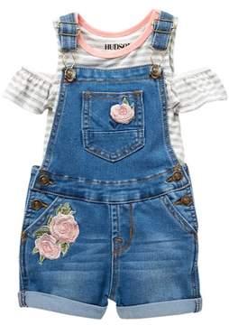 Hudson Stripe Top & Shortall Set (Baby Girls)