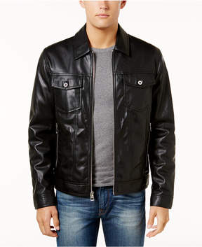 GUESS Men's Benson Faux Leather Trucker Jacket