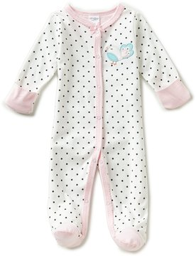 Starting Out Baby Girls Preemie-6 Months Dotted Bird-Applique Footed Coveralls