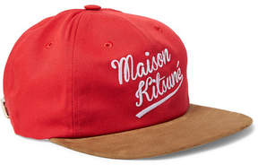 MAISON KITSUNÉ Suede-Trimmed Embroidered Cotton-Blend Twill Baseball Cap