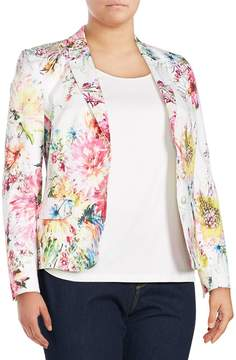 Basler Women's Plus Size Floral Open Front Blazer