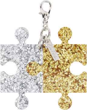 Edie Parker Gold And Silver Confetti Puzzle Charm