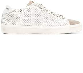 Leather Crown perforated lace-up sneakers