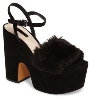 Topshop Women's Lash Faux Fur Sandal