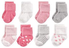 Hudson Baby Pink & Gray Dot & Stripe Chenille Eight-Pair Socks Set - Infant