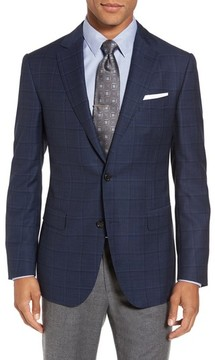 Pal Zileri Men's Classic Fit Windowpane Wool Sport Coat