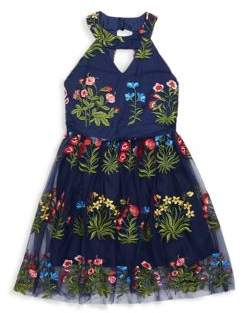 Un Deux Trois Girl's Embroidered Floral Halter Dress