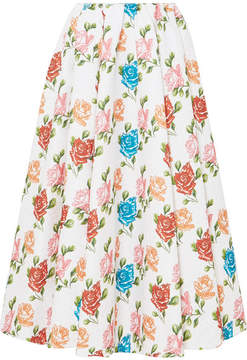 Emilia Wickstead Jane Pleated Floral-print Cloqué Midi Skirt - White