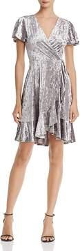 Aqua Crushed Velvet Faux Wrap Dress - 100% Exclusive