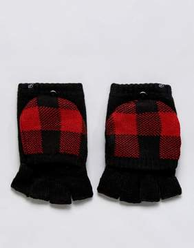 Plush Fleece Lined Plaid Texting Smart Touch Mittens