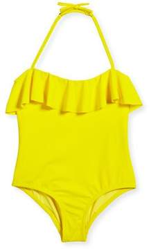 Milly Minis Ruffle Top One-Piece Swimsuit, Size 8-14