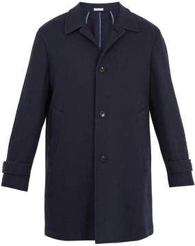 Boglioli Point-collar basket-weave wool-blend overcoat