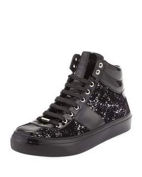 Jimmy Choo Belgravia Men's Glitter High-Top Sneaker, Black/Silver
