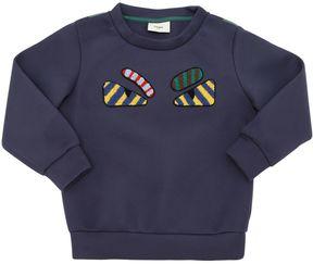 Fendi Monster Patch Jersey Neoprene Sweatshirt