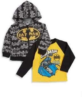 Nannette Little Boy's Two-Piece Batman Faux Fur-Trimmed Hoodie and Cotton Top Set