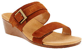 Vionic Orthotic Suede Wedges w/ Buckle -Natoma