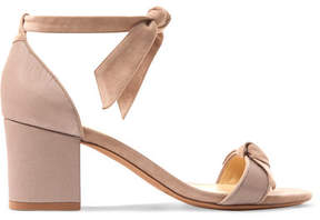 Alexandre Birman Clarita Bow-embellished Suede And Satin-twill Sandals - Beige