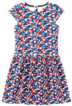 Petit Bateau Girl's dress in light print fleece