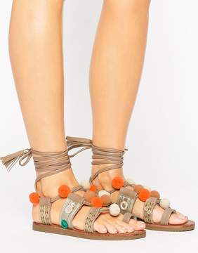 Glamorous Pom Pom Taupe Tie Up Flat Sandals